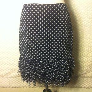 NWT Ann Taylor Navy Polka Dot Fringe Skirt